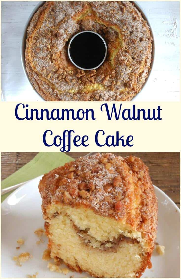 Cinnamon Walnut Coffee Cake, the perfect fall Comfort Cake.  Full of the taste of Cinnamon and Walnuts.  Eat it for Breakfast, Snack or even Dessert.  This is a Cake everyone will love. #cake #coffeecake #dessert #snack #breakfast