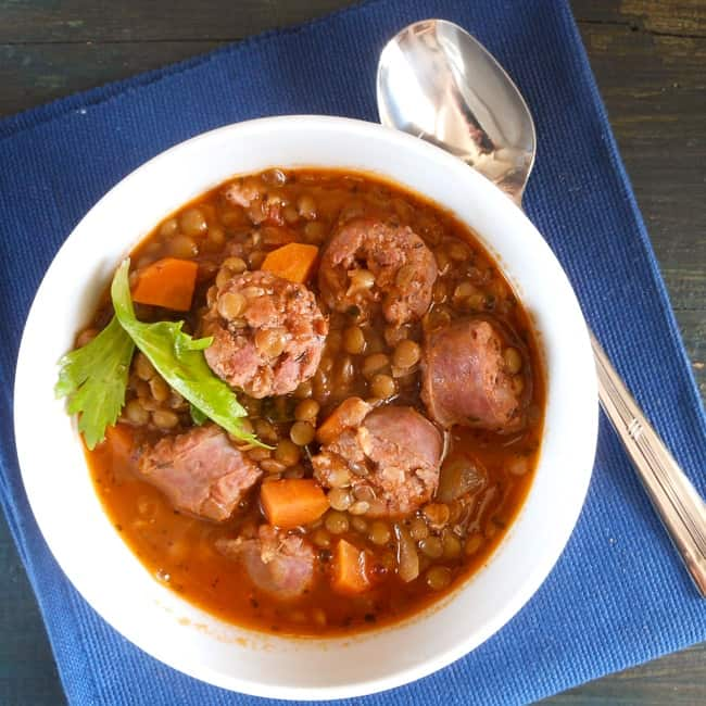 lentils and sausage soup/anitalianinmykitchen.com