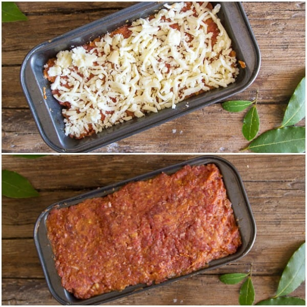2 photos of best meatloaf before baked, first layer with cheese and 2nd with meat mixture on top