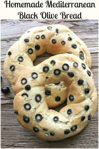 Do you love Homemade Bread and black olives? Then you are going to love this tasty Mediterranean Crusty Black Olive Bread made with lots of sliced olives. #bread #mediterranean #olives #Italian