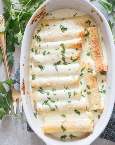 ham and cheese cannelloni in a dish