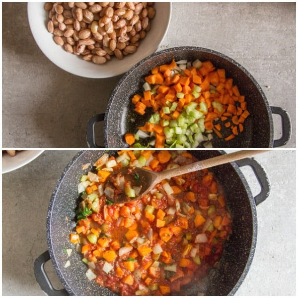 how to make pasta fazool veggies in a pot and beans in a bowl