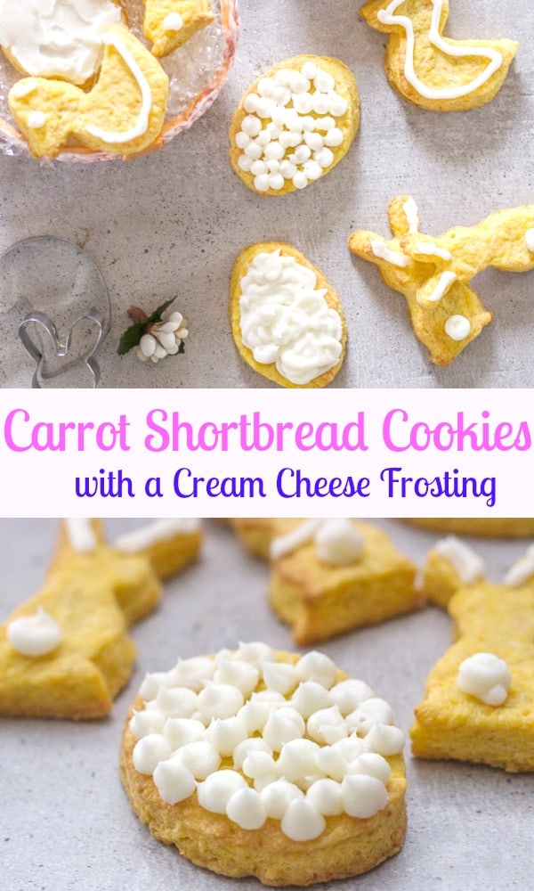 Carrot Shortbread Cookies, these delicious butter cookies just got an Easter make over. Made with butter, icing sugar and yes carrots! And of course an easy Cream Cheese Frosting. Bunnies for Easter. #shortbread #carrots #Easter #creamcheesefrosting