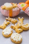 easter shortbread cookies on a board