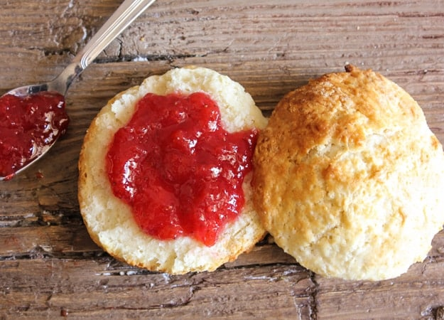 homemade no pectin strawberry jam and best biscuits