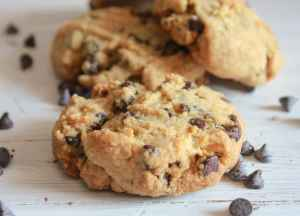 upclose photo of a thick peanut butter chocolate chip cookie