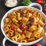 sausage pasta in a white pan