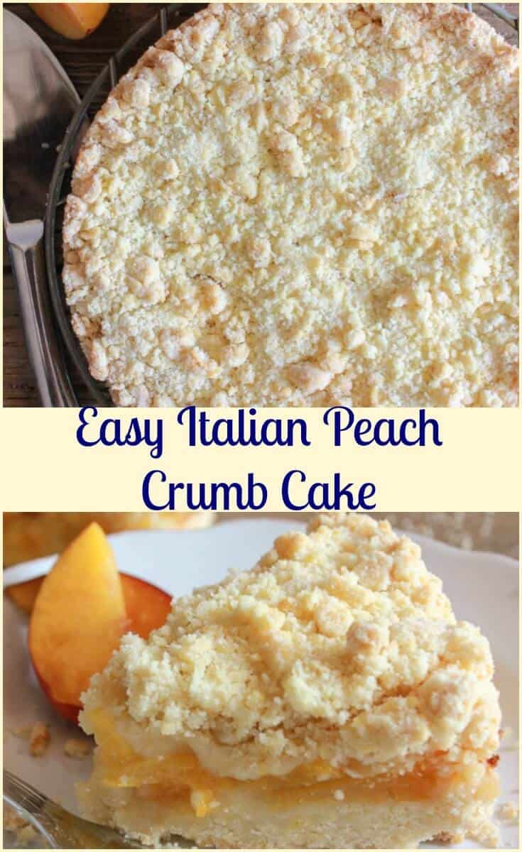 Easy Italian Fresh Peach Crumb Cake, a delicious peach dessert recipe,snack, dessert or even breakfast. Alone or with ice cream.Perfect! #crumbcake #cake #peachcake #peaches #dessert