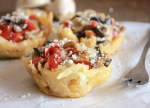 Stuffed Potato Parmesan Cheese Baskets, the perfect healthy, fast and easy year round appetizer recipe. Fill with your favorite veggies/anitalianinmykitchen.com