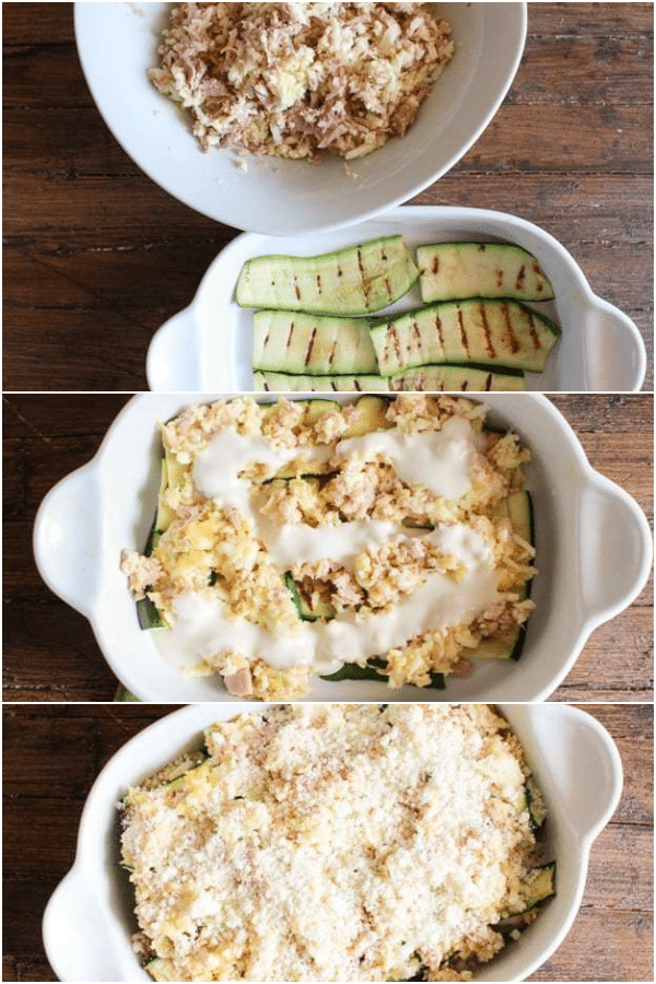 zucchini lasagna how to make the filling, grilled zucchini, layering in the white pan and ready for baking