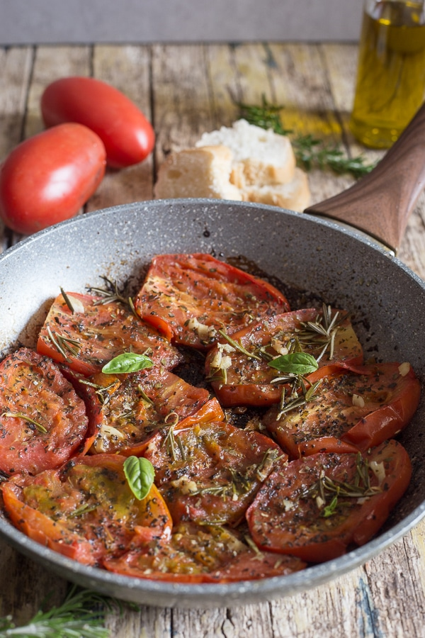 italian pan fried tomatoes - ripe tomatoes fried with the perfect spices