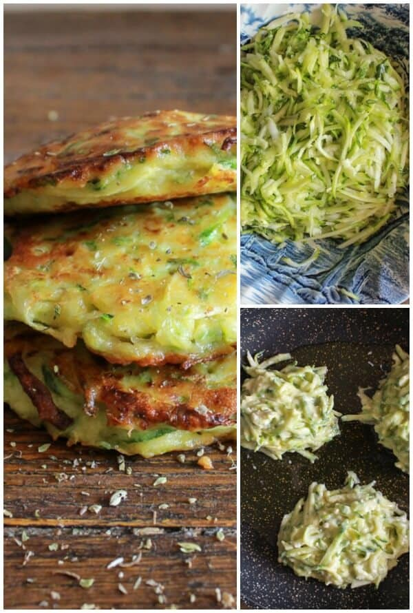 Zucchini Patties,3 photos of before cooked and after