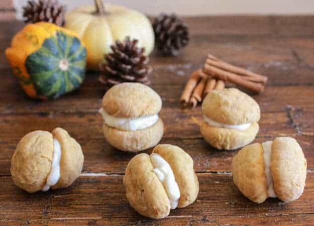 Pumpkin Baci di Dama with Mascarpone Filling, a delicious, delicate Italian cookie recipe, the perfect homemade Fall dessert or snack.