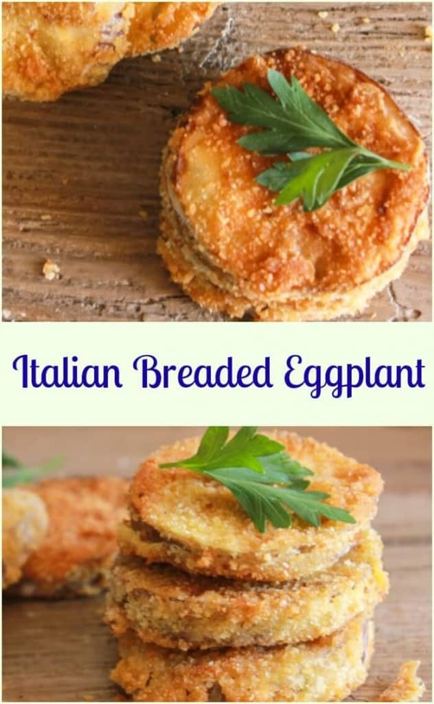 Italian Breaded Eggplant, an easy and so delicious side dish or appetizer, sliced eggplant lightly fried in a yummy Parmesan breadcrumb mix.  Perfect! #eggplant #breadedeggplent #appetizer #Italiancuisine #vegetable #vegetarian