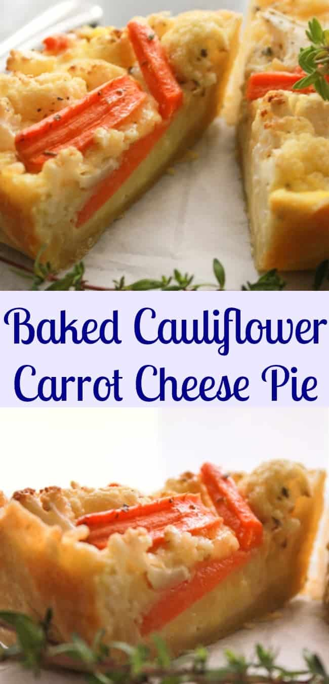 Baked Cauliflower Carrot Cheese Pie, a healthy easy homemade pastry dough and a delicious vegetarian, cheesy filling. The perfect appetizer/main dish.|anitalianinmykitchen.com