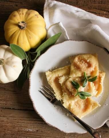 Creamy Squash Filled Ravioli, homemade Italian ravioli recipe with a tasty butternut/pumpkin filling, and a simple butter parmesan sauce.|anitalianinmykitchen.com
