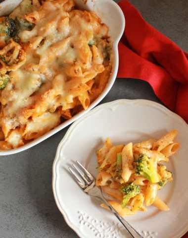Cheesy Broccoli Pasta Bake, an easy, delicious cheesy vegetarian pasta recipe. Parmesan and Gruyere make it a creamy yummy family favorite.