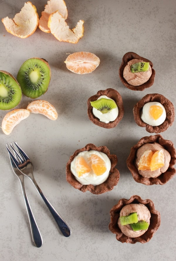 Chocolate Mousse Tarts, the perfect simple,easy, light dessert recipe, made with a flaky pastry dough and an eggless creamy dark or white chocolatey mousse.|anitalianinmykitchen.com