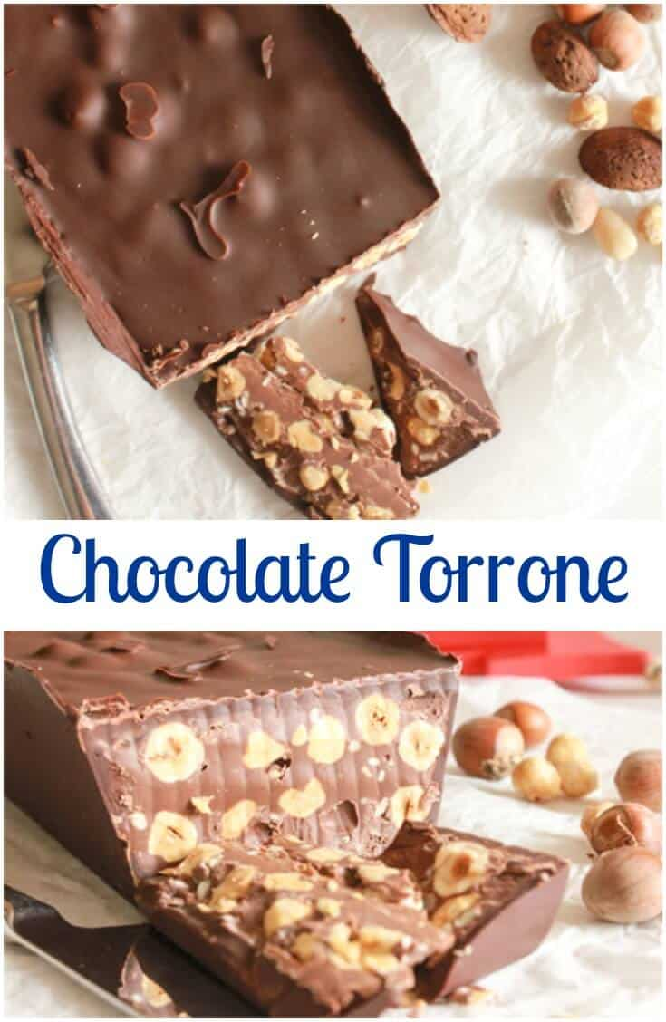 Chocolate Torrone, an easy Italian #Christmas #candy, creamy, decadent, chocolatey, and full of #hazelnuts. A delicious new #Christmas Tradition.