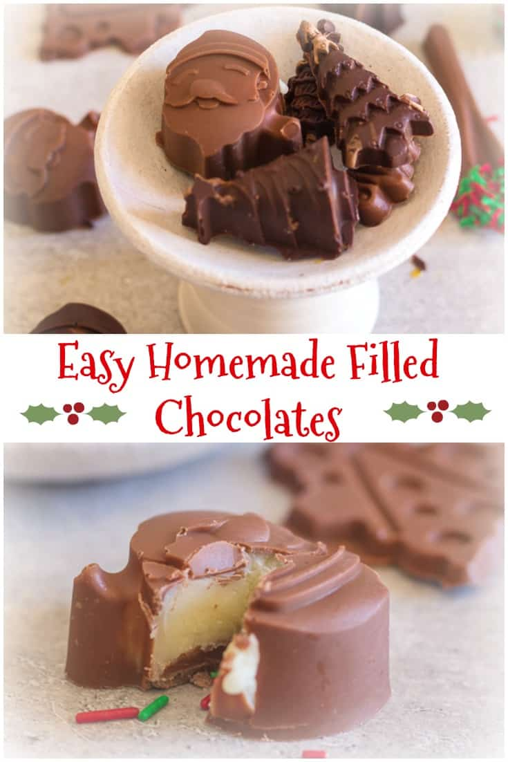 Easy Homemade Filled Chocolates, a delicious filled chocolate candy recipe, chocolate molds, make this an easy to make Christmas treat. #chocolate #Christmas #dessert #candy