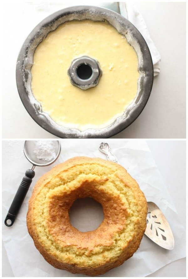 fresh cream lemon cake batter in a bundt pan before and after baked