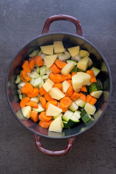 vegetables in the pot to make lentil soup