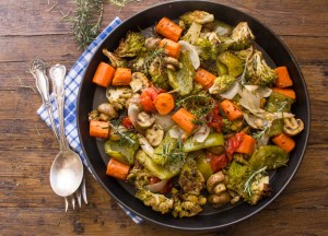 Roasted vegetables, easy vegetables, deliciously spiced with Italian herbs and olive oil, oven baked to perfection. A yummy family veggie dinner dish. anitalianinmykitchen.com