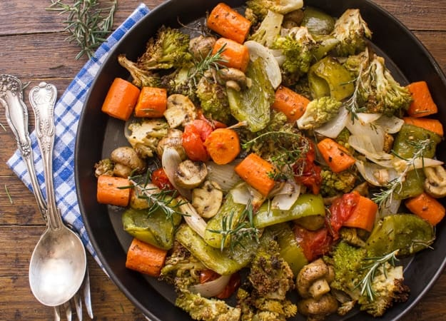 roasted vegetables in a black pan