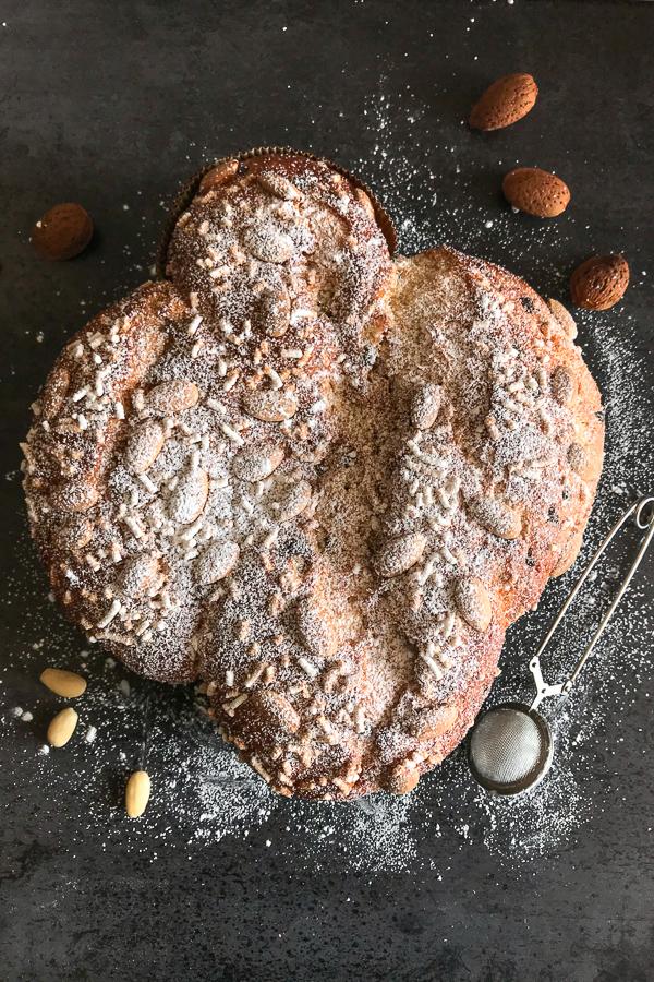 colomba easter sweet bread baked on a black board