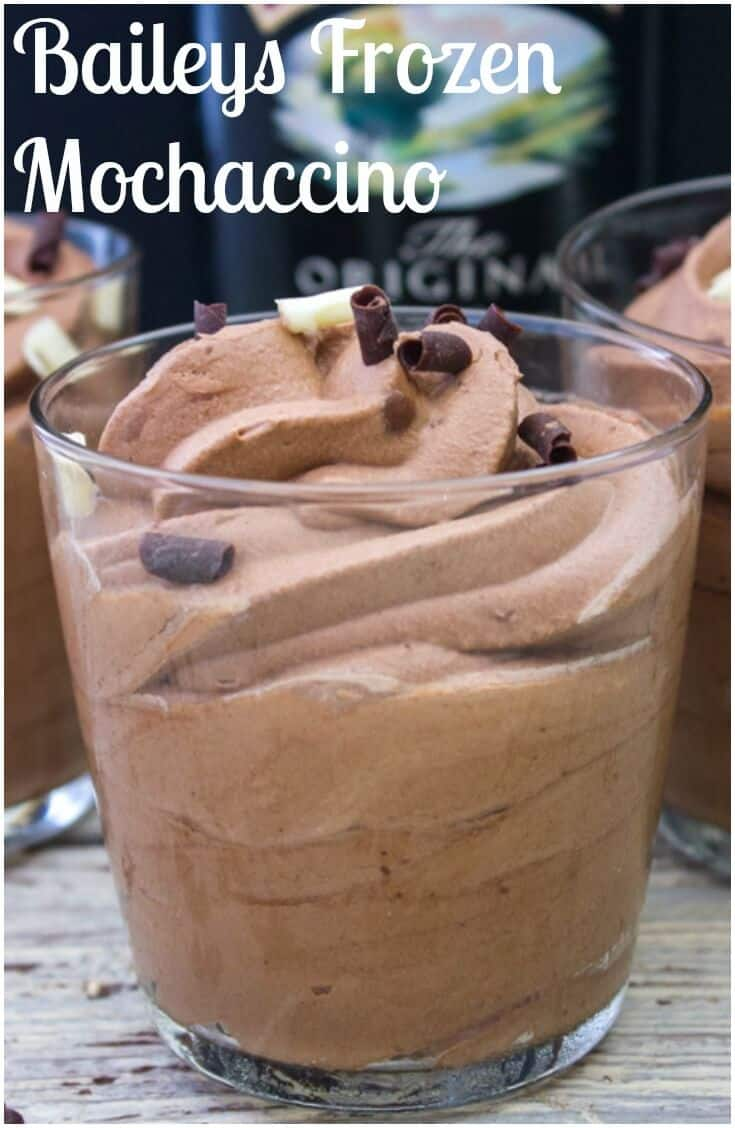 Baileys Frozen Mochaccino a delicious creamy frozen dessert you will ever taste. A must try. The perfect no-bake better than ice cream treat. #baileys #icecream #frozen #dessert #chocolateicecream #frozendessert