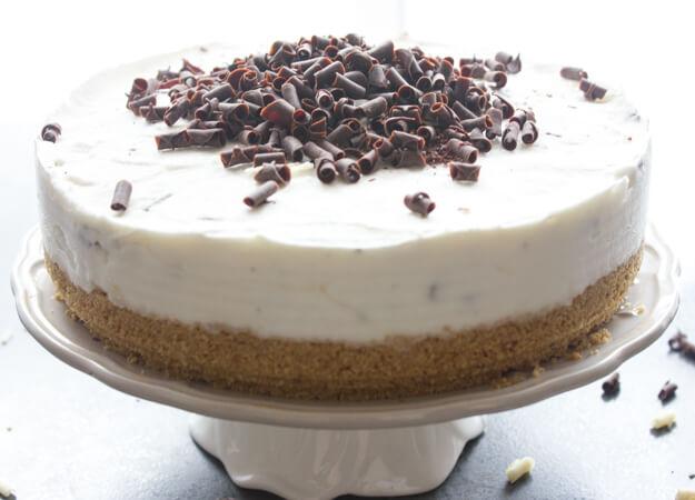 Chocolate Chip Frozen Yogurt Cake, a healthy delicious no-bake Summer dessert recipe,made with a Graham Crust & Greek Yogurt.