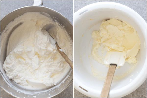 apricot cake how to make, whipped cream and cream cheese mixture