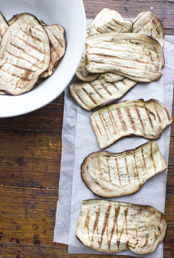 eggplant just grilled on parchment paper