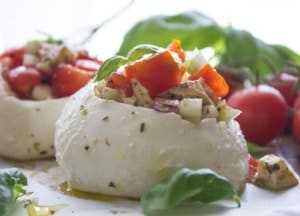 Easy Stuffed Fresh Mozzarella Caprese, the perfect Summer Appetizer idea. A fresh healthy vegetarian, gluten free Salad Recipe.