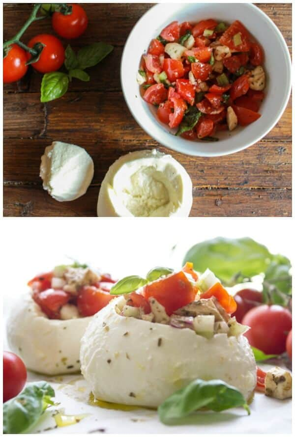 Easy Stuffed Fresh Mozzarella Caprese, the perfect Summer Appetizer idea. A fresh healthy vegetarian, gluten free Salad Recipe.