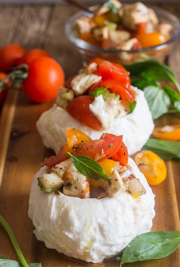Easy Stuffed Fresh Mozzarella Caprese