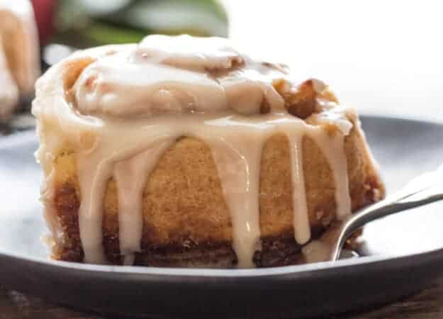 Apple Butter Cinnamon Rolls a quick and easy no yeast dough filled with a yummy Apple Butter filling and topped with a creamy Maple Glaze.