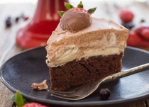 a slice of a chocolate mousse cake
