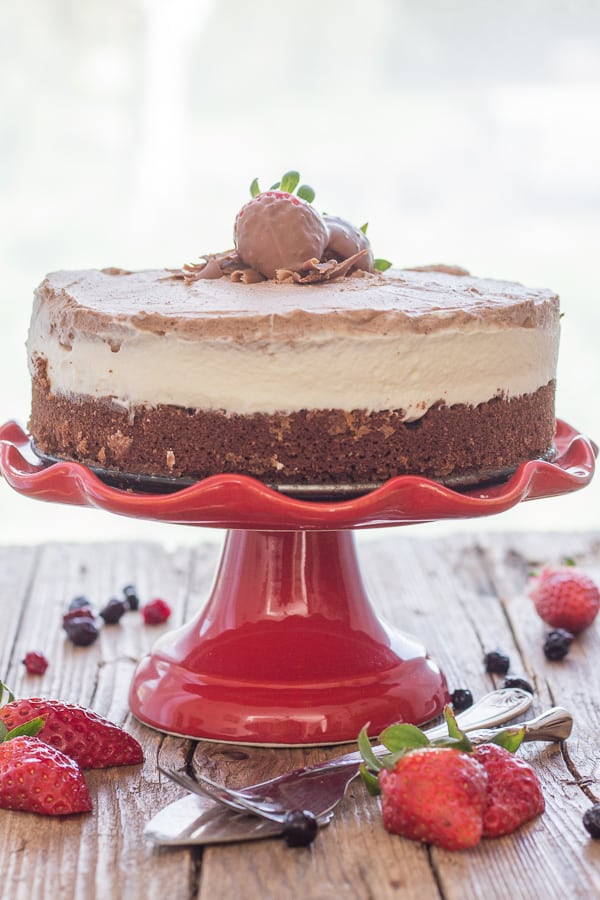 double chocolate mousse cake on a red cake stand