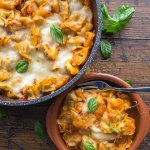 A simple homemade Tomato Sauce makes this Easy Cheesy Baked Tortellini Casserole, a new Family Favorite Pasta dish.