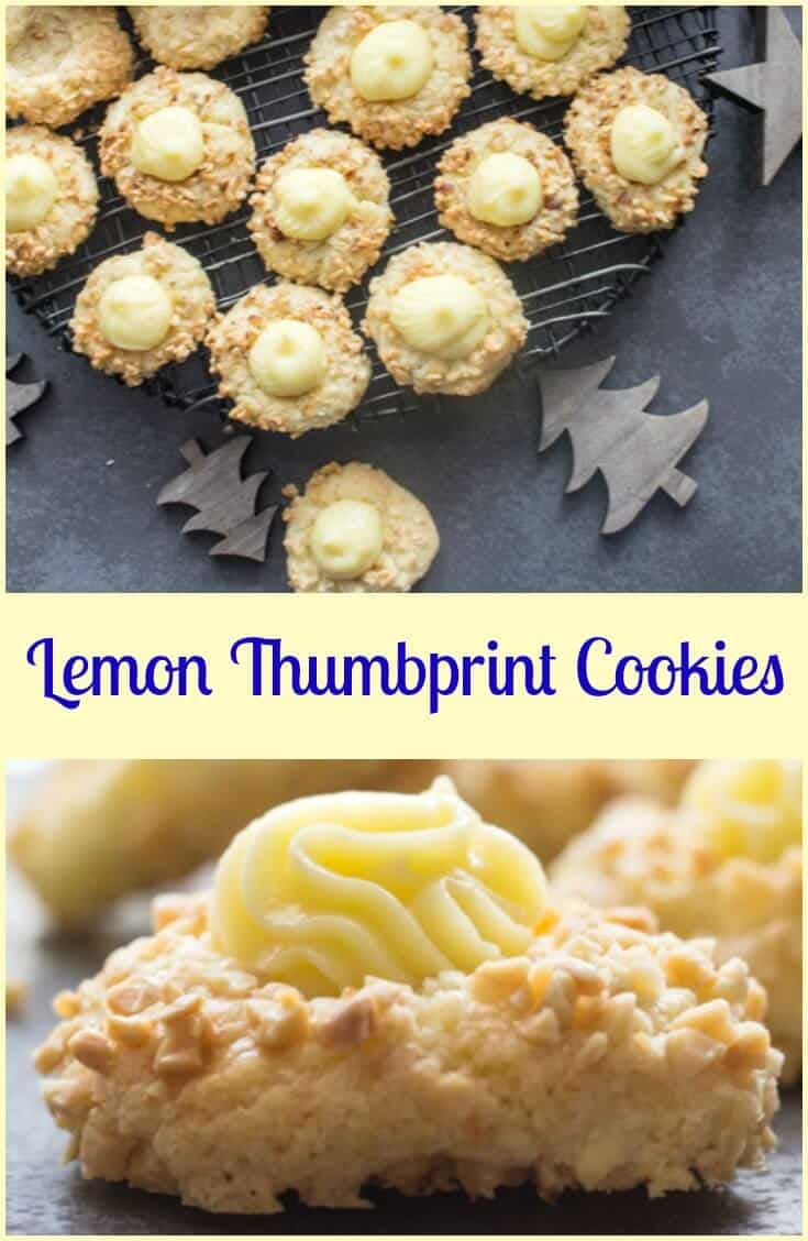 Lemon Thumbprint Cookies are an easy Christmas Cookie Recipe, a buttery lemon base rolled in chopped almonds makes these the best cookies.