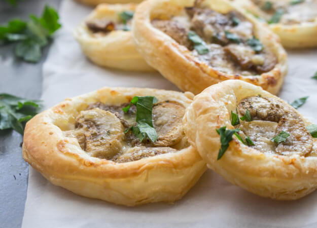 Mushroom Puff Pastry Appetizers, a delicious, fast and easy vegetarian finger food, makes the perfect addition to any dinner or get together.