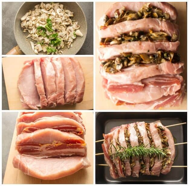 Hasselback Stuffed Pork Roast, a delicious Oven Baked Pork Loin Recipe, stuffed with mushrooms and bacon, the perfect Dinner Meal.