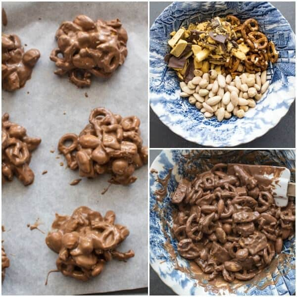 Loaded Double Chocolate Clusters, fast and easy almond, pretzel and sponge toffee cluster recipe. Milk and dark chocolate make them so yummy.