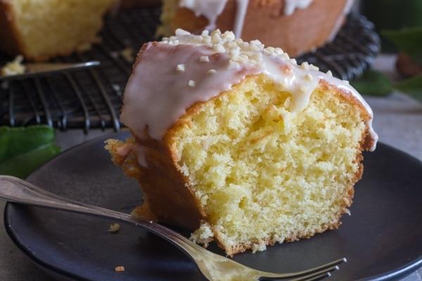 up close mandarin orange cake slice