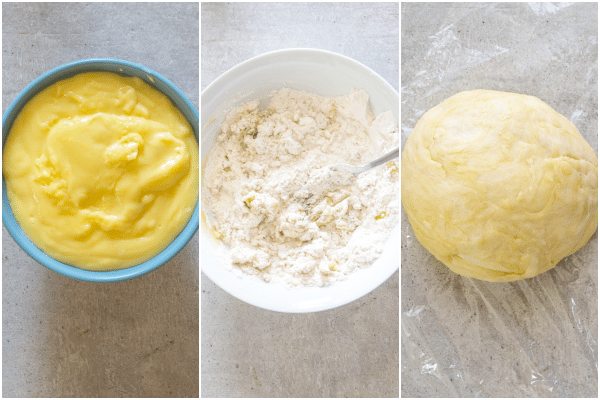 how to make pasticiotti making the cream, the dough and forming into a smooth dough