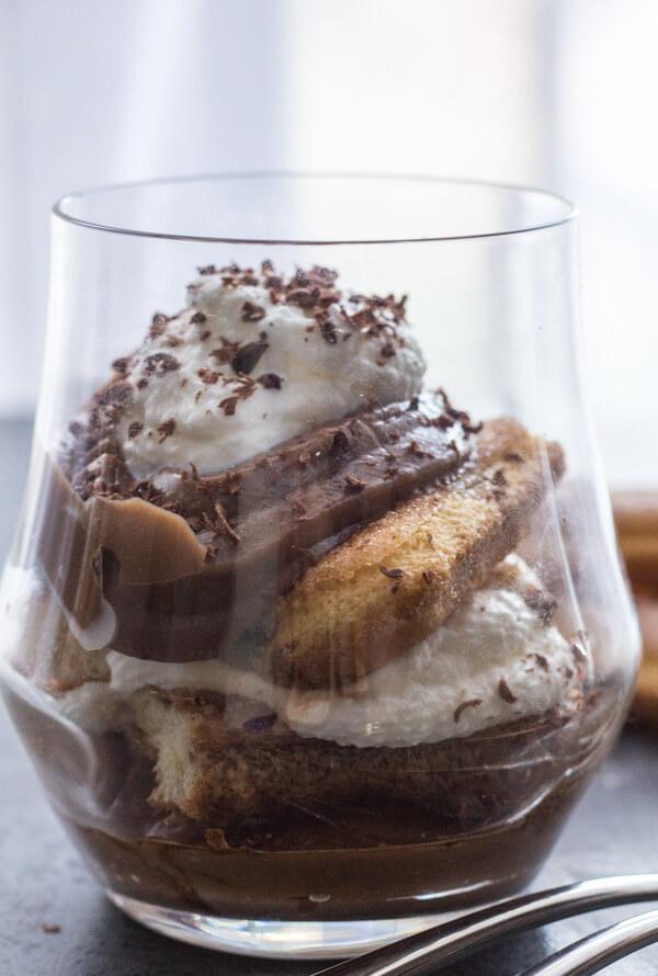 Italian Chocolate Pastry Cream Tiramisu, an easy Italian Dessert recipe, made with lady fingers, chocolate and cream. Delicate & Delicious.