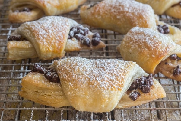 puff pastry crescents on a wire rack
