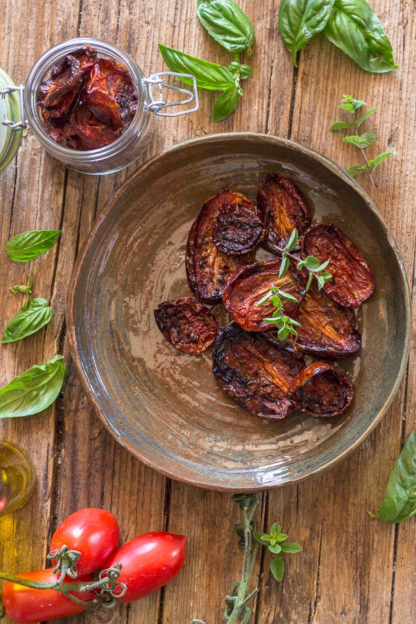 sun dried tomatoes on a plate