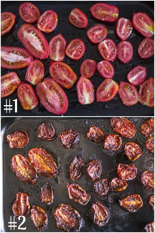 how to make sun dried tomatoes sliced on a pan before baking and after